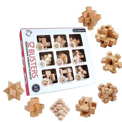 3t6b Rompicapo In Legno Giocattoli Puzzle In Legno 3d 9 Pezzi Usati Per Lallenamento Del Cervello Esercizio Mentale Giochi Puzzle In Legno Per Bambini E Adolescenti 0