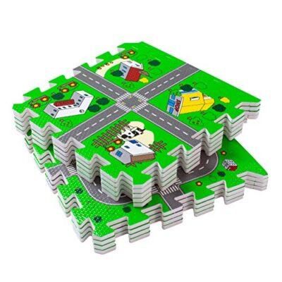 Bodenmax Tappeto Puzzle Da Gioco Per Bambini E Neonati Circuito Stradale Per Macchinine Bordi Protettivi A Incastro In Gommapiuma Eva 30x30x1 Cm 18 Pezzi 0