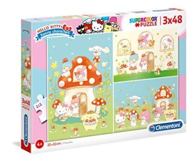 Clementoni 25246 Supercolor Puzzle Hello Kitty 3 X 48 Pezzi Made In Italy Puzzle Bambini 4 Anni 0