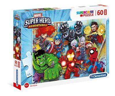 Clementoni 26454 Supercolor Puzzle Marvel Super Hero Avengers 60 Maxi Pezzi Made In Italy Puzzle Bambini 4 Anni 0