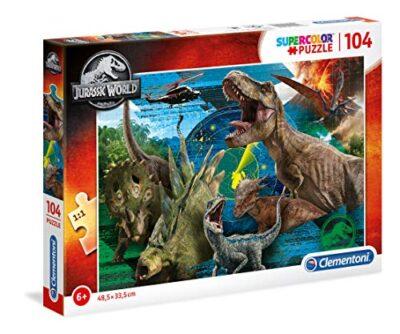 Clementoni 27196 Supercolor Puzzle Jurassic World 104 Pezzi Made In Italy Puzzle Bambini 6 Anni 0