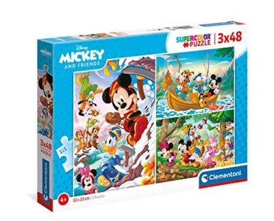 Clementoni Mickey Mouse Supercolor Disney And Friends 3x48 3 48 Pezzi Made In Italy Puzzle Bambini 4 Anni Multicolore 25266 0