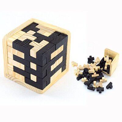 Dmzk Giocattoli Di Legno Cubepuzzle 3d Cervello Di Legno Rompicapo Puzzle Game 0
