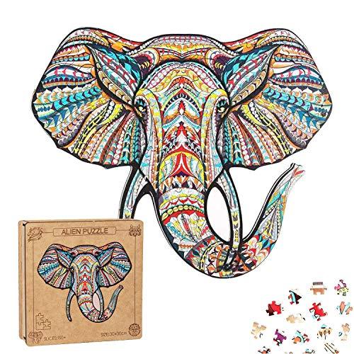 Extsud Puzzle In Legno Gioco Per Bambini E Adulti Puzzle Colorati A Forma Di Elefante Puzzle Animali Legno Forma Unica Fai Da Te Puzzle Bambini Adulti Wooden Puzzle Elephant Elefante 0