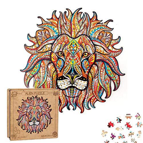 Extsud Puzzle In Legno Gioco Per Bambini E Adulti Puzzle Colorati A Forma Di Leone Puzzle Animali Legno Forma Unica Fai Da Te Puzzle Bambini Adulti Wooden Puzzle Lion Leone 0