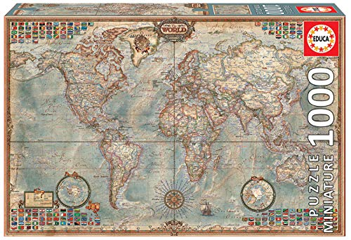 Educa 16764 Political Map Of The World Miniature Puzzle 1000 Pezzi 46 X 30 Cm 0