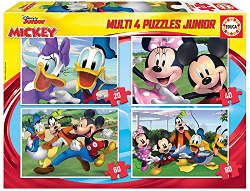 Educa Borras Multi 4 Puzzle Junior Di 20 40 60 E 80 Pezzi Topolino E I Suoi Amici A Partire Dai 5 Anni 18627 Coloremodello Assortiti 0