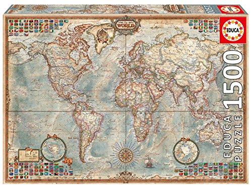 Educa Puzzles Mappa Politica Del Mondo Puzzle Per Adulti 1500 Pezzi Rif 16005 Colore Vario 0
