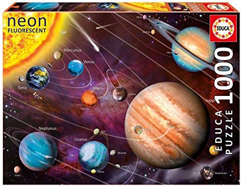 Educa Serie Neon Fluorescent Sistema Solare Puzzle Per Adulti Brilla Al Buio 1000 Pezzi Rif14461 Colore Vario 14461 0