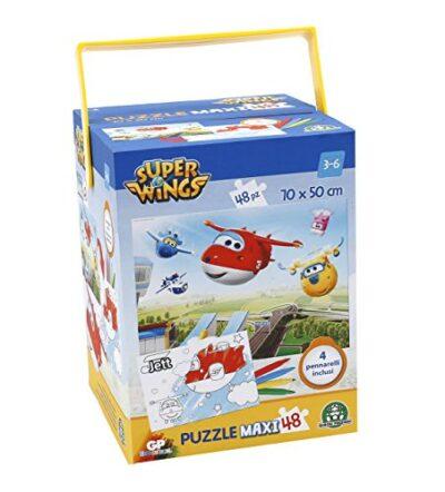 Giochi Preziosi Super Wings Puzzle Con Pennarelli 48 Pezzi 0