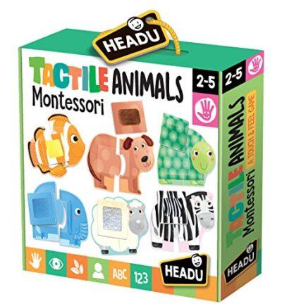 Headu Tactile Animals Montessori Puzzle 1 4 Anni Multicolore It20188 0
