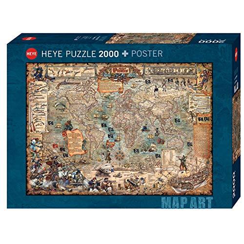 Heye 29847 Pirate World Standard 2000 Pezzi Map Art Poster Verde 0