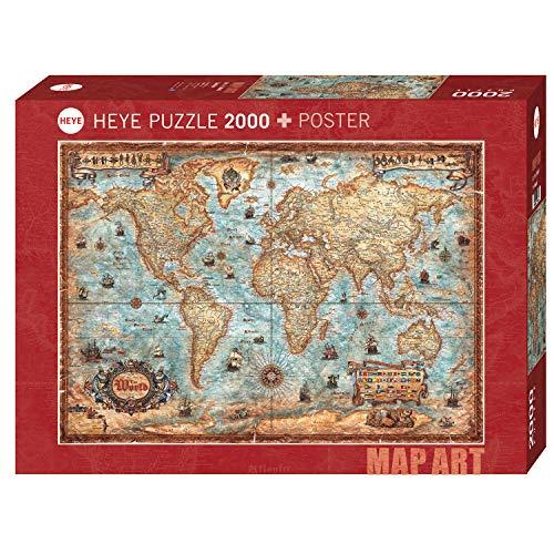 Heye The World Standart 2000 Pezzi Map Art Poster Colore Marrone 29845 0