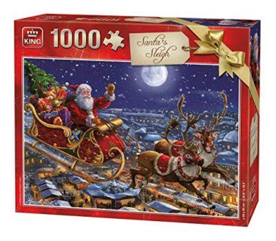 King 5768 Puzzle Natalizio Con Slitta Di Babbo Natale 1000 Pezzi A Colori 68 X 49 Cm 0