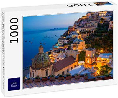 Lais Puzzle Positano Costiera Amalfitana Campania Sorrento Italia Vista Della Citta E Del Mare In Un Tramonto Estivo 1000 Pezzi 0