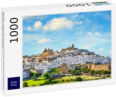Lais Puzzle Skyline Bianco Della Citta Di Ostuni Al Tramonto Brindisi Puglia Italia 1000 Pezzi 0
