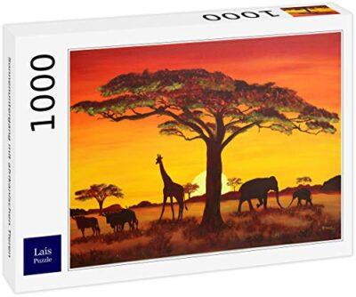Lais Puzzle Tramonto Con Animali Africani 1000 Pezzi 0