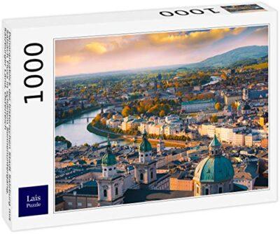 Lais Puzzle Vista Panoramica Della Citta Storica Di Salisburgo Con Il Fiume Salzach In Un Bellissimo Tramonto Salisburgo Austria 1000 Pezzi 0