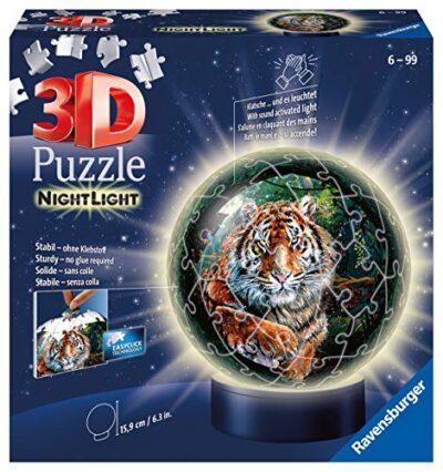 Ravensburger Puzzle Raubkatzen Nachtlicht 3d 11248 Luce Notturna Gatti Predatori 72 Pezzi Dai 6 Anni In Su Multicolore 0