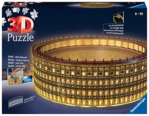 Ravensburger 11148 Colosseo Night Edition 3d Puzzle 216 Pezzi Multicolore Eta Raccomandata 10 Dimensioni Finali 32 X 26 X 10 Cm 0