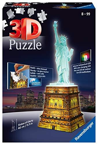 Ravensburger 12596 Statua Della Liberta Puzzle 3d Building Night Edition 0