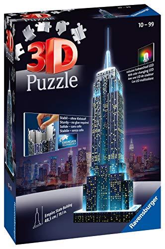 Ravensburger Puzzle 3d Empire State Building Edizione Speciale Notte 216 Pezzi Colore Nero Luce Led 12566 1 0 1