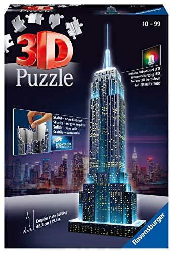 Ravensburger Puzzle 3d Empire State Building Edizione Speciale Notte 216 Pezzi Colore Nero Luce Led 12566 1 0