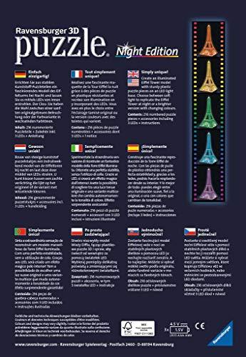 Ravensburger Tour Torre Eiffel Puzzle 3d Con Led Edizione Speciale Notte 216 Pezzi Multicolore 12579 0 0