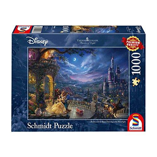Schmidt Puzzle Disney La Bella E La Bestia Ballo Al Chiaro Di Luna Di Thomas Kinkade 1000 Pezzi 59484 0