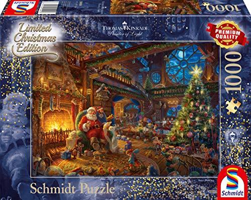 Schmidt Spiele 59494 Puzzle Thomas Kinkade Babbo Natale E I Suoi Gnomi Edizione Limitata 1000 Pezzi Multicolore 0