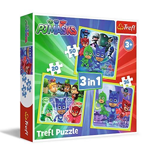 Trefl 34840 Puzzle 3 In 1 Modello Pj Masks 20 36 50 Pezzi Multicolore 0