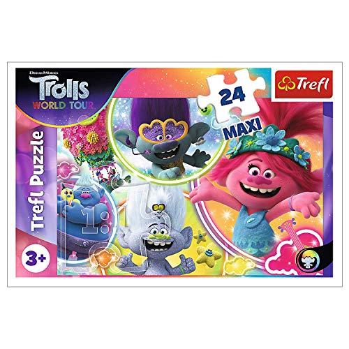 Trefl Puzzleil Mondo Musicale Dei Trolls 24 Maxi Pezzi Universali Per Bambini Dai 3 Anni In Su 0