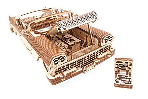 Ugears Dream Cabriolet Modellino Auto In Legno Puzzle 3d Per Adulti Modello Meccanico Rompicapo In Legno Per Adulti Kit Di Costruzione Giocattolo 0 3