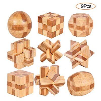 Ygzn 9 Pezzi Rompicapo Puzzle Giocattoli Di Legno 3d Puzzle Di Legno Gioco Di Puzzle Di Legno Ideale Per Giocattoli Educativi Intelligenza E Regali Per Bambini Wooden Puzzles 9set 0