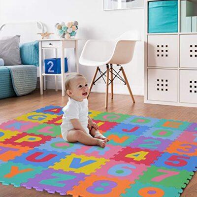 Homcom Tappeto Puzzle Per Bambini 36 Pezzi Numeri Da 0 A 9 E 26 Lettere Morbido E Antiscivolo 0 0