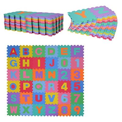 Homcom Tappeto Puzzle Per Bambini 36 Pezzi Numeri Da 0 A 9 E 26 Lettere Morbido E Antiscivolo 0