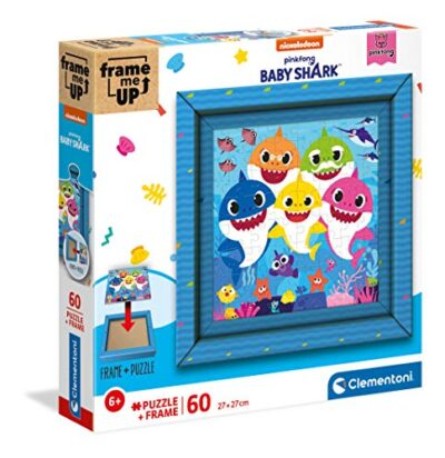 Clementoni Baby Shark Frame Me Up Shark 60 Pezzi Made In Italy Bambini 6 Anni Puzzle Con Cornice Multicolore 38807 0