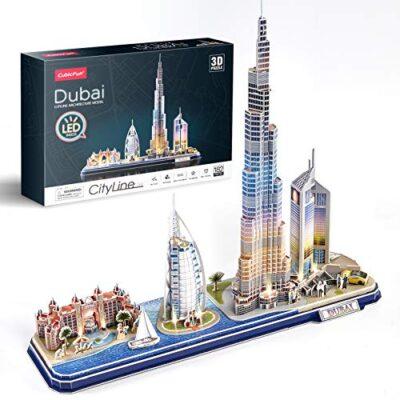 Cubicfun Puzzle 3d Led Dubai Architecture Model Kit Per Bambini E Adulti Atlantis The Palm Dubai Burj Al Arab Jumeirah Hotel Burj Khalifa Emirates Towers 182 Pezzi 0