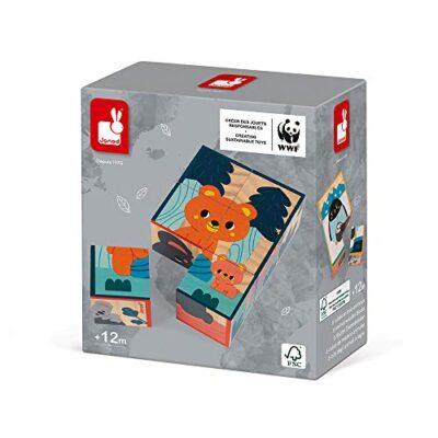 Janod Puzzle Bambini Cubi In Legno Animali Gioco Per Lapprendimento E Prima Infanzia Sviluppo Dellosservazione In Collaborazione Con Il Wwf Certificato Fsc A Partire Da 1 Anno 0