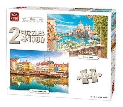 King 85517 City Collection 2 In 1 Puzzle 2 X Puzzle Da Pezzi 68 X 49 Cm 0
