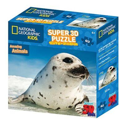National Geographic Kids Puzzle Da 63 Pezzi Super 3d Per Bambini Seal Colore Beige 118 X 105 X 85 Cm Ng13586 0